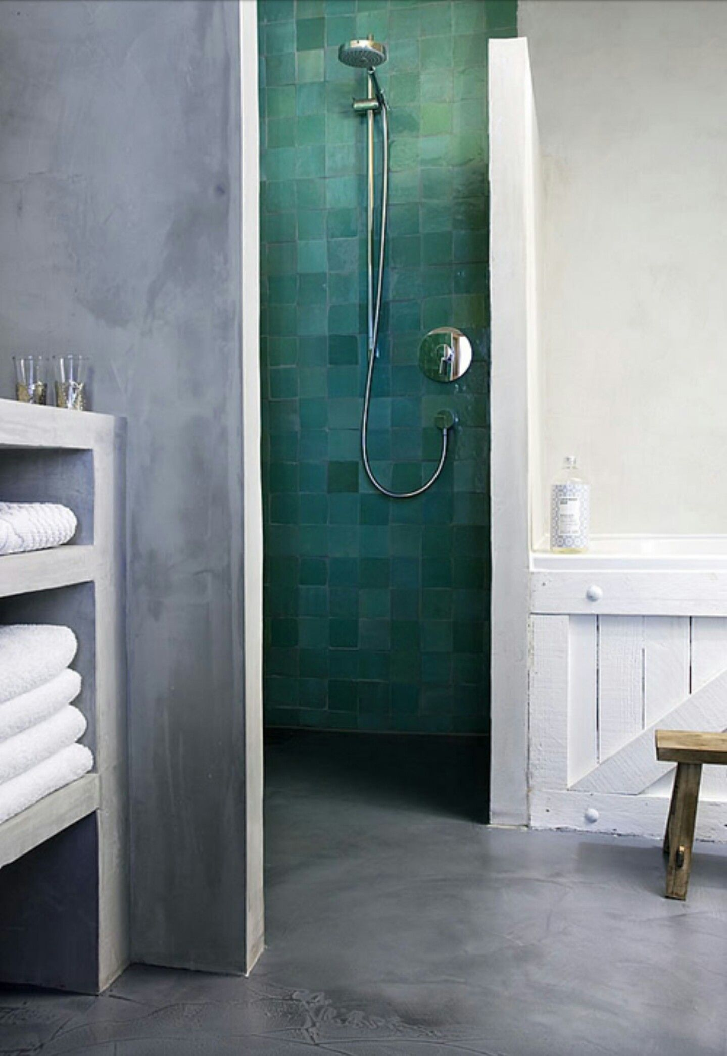 Zelliges Green | Home :: Bathroom | Pinterest | Wet rooms, Tiny ...