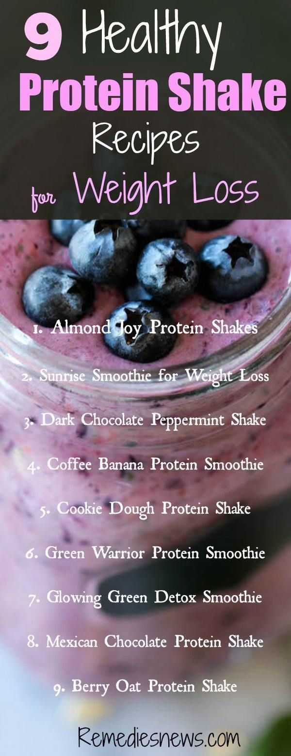 9 Healthy Protein Shake Recipes for Weight Loss and Flat Belly #proteinshakes
