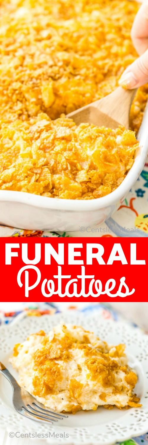 Made With Hash Browns Cheese Sour Cream And Condensed Cream Of Chicken Soup Funeral Potato Funeral Potatoes Hashbrown Recipes Hashbrown Breakfast Casserole