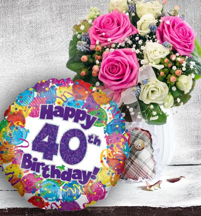 40th Birthday Flowers And Balloon. Available For UK Wide