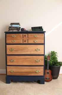 Solid Wood Navy And Cherry Stain Dresser Stained Dresser Blue Furniture Diy Dresser Makeover