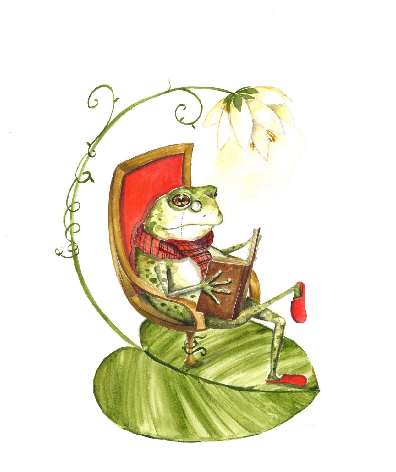 8x10 art print Frog Relaxing in Reading Chair by