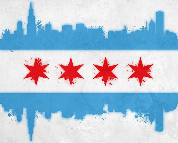 Chicago Flag Greeting Card For Sale By Mike Maher Chicago Flag Art Flag Art Chicago Tattoo