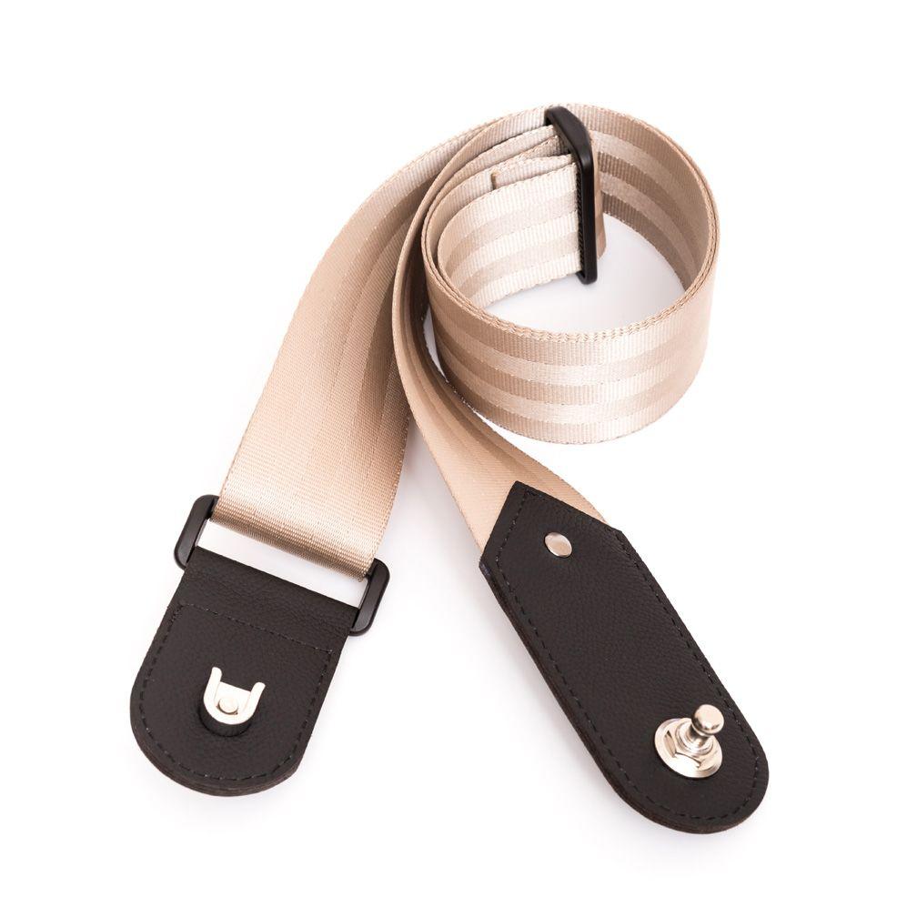 Desert beige guitar strap with builtin strap locks
