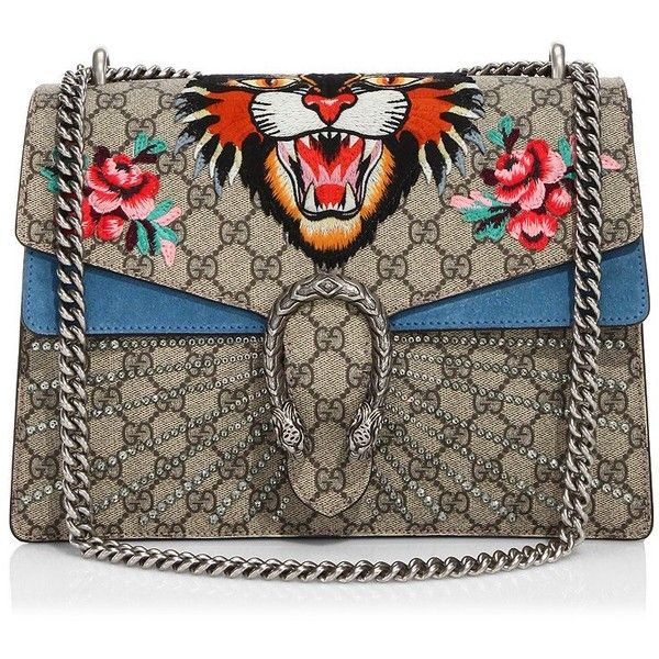 Gucci Medium Dionysus Embroidered Angry Cat GG Supreme Shoulder Bag  ( 3 59054c4309d4