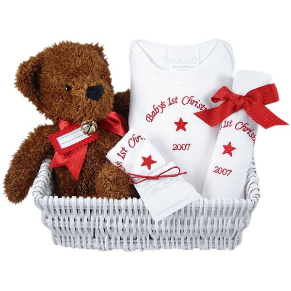 Babys first christmas personalized five piece gift basket gift babys first christmas personalized five piece gift basket negle Image collections