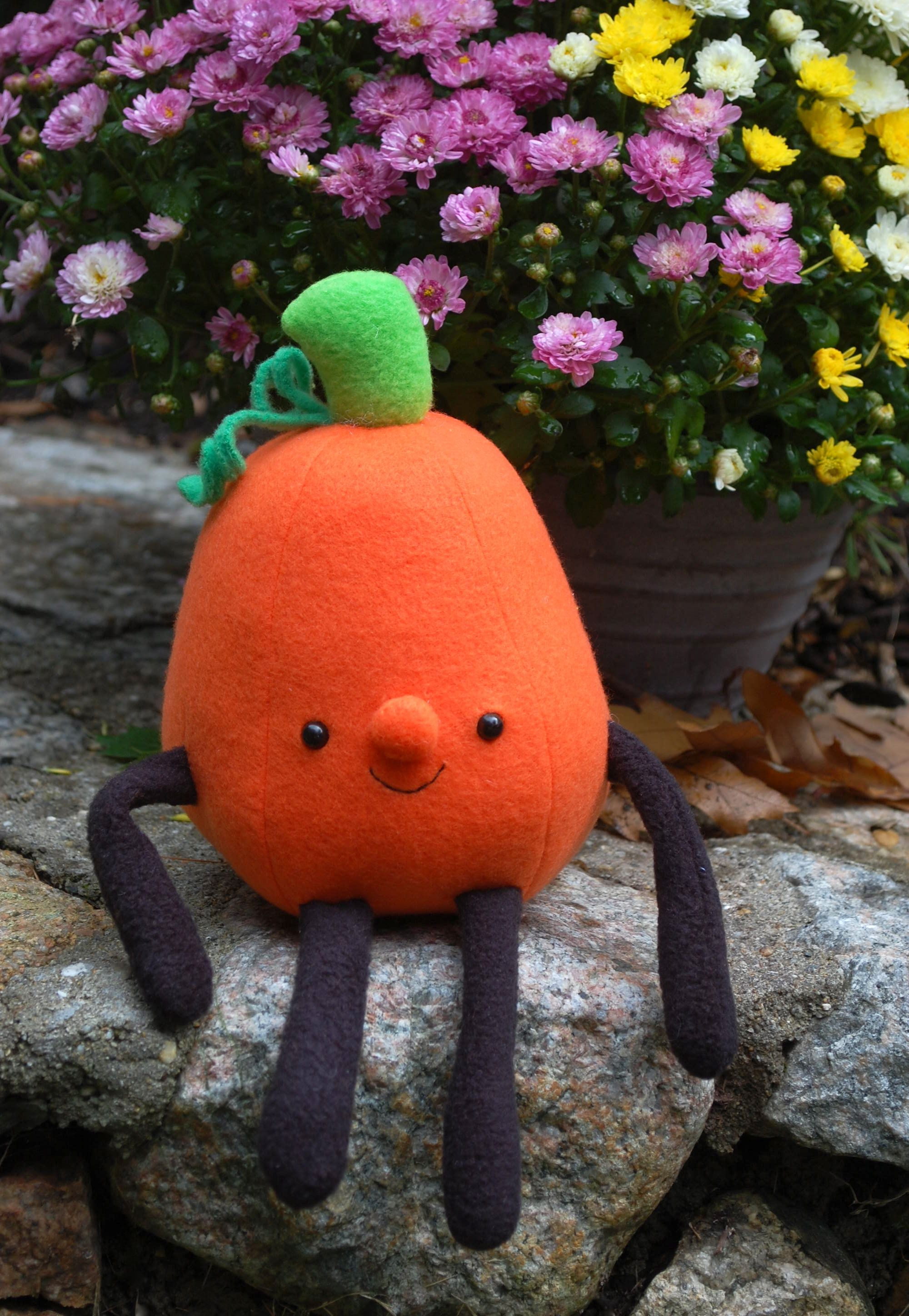 Jack the Pumpkin - sewn toy from While She Naps