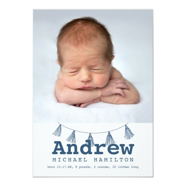 Blue Tassel Photo Collage Birth Announcement |  Blue Tassel Photo Collage Birth Announcement ,