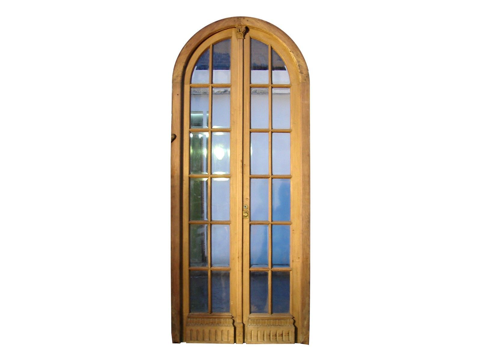 Lovely French Antique Glass Door Panels | Arched Double Glass Door Clear Glass