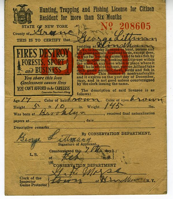 1930 Hunting Trapping Fishing License From State Of New York Hunting Vintage Fishing Traps