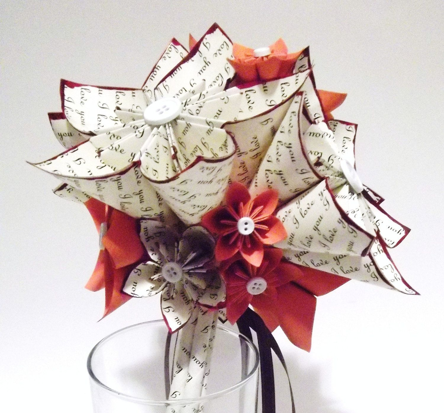 I Love You Paper Flower Wedding Bouquet- 8 inch, 15 flowers, origami ...