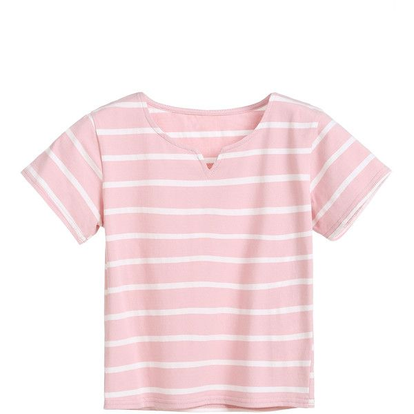 Pink Striped V Cut Crop T-shirt (105 ARS) ❤ liked on Polyvore ...