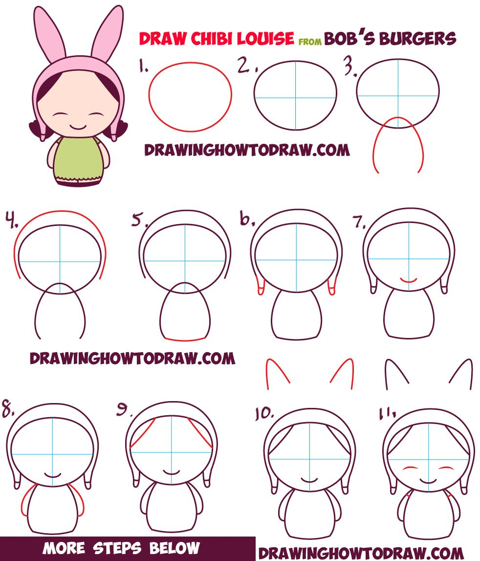 How To Draw Kawaii Chibi Louise From Bob's Burgers Easy Step By Step Drawing …