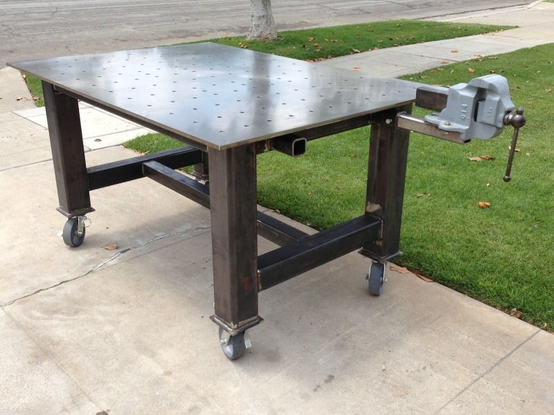 Welding Table Designs if you cant have a welding table of 6 inch thick cast iron Welding Table Vise And Grinder Stands Im Looking For Ideas On How To Use Several
