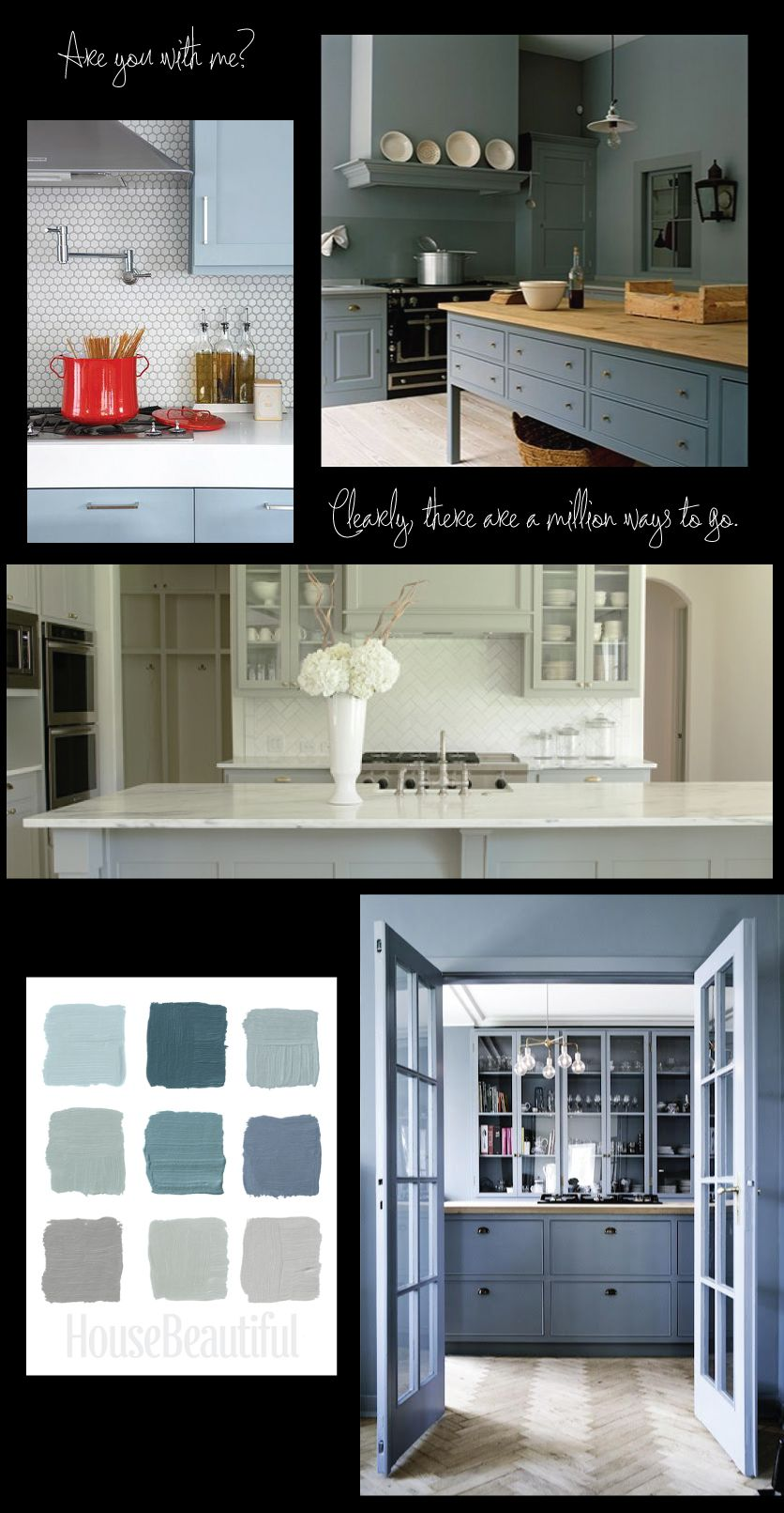 Greenish-Grey and Blue-Grey Kitchen Cabinets