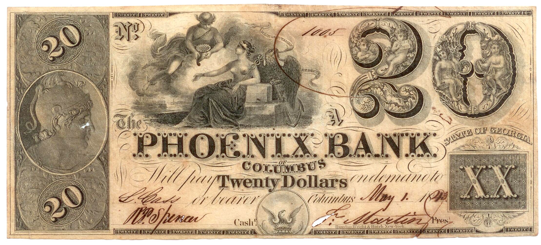 Obsolete Bank Note 1843 Phoenix Bank Columbus Georgia Bank Notes Paper Currency Coins Worth Money