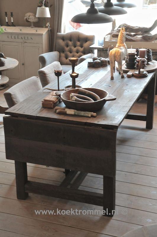 Goede verlengbare eettafel van Hoffz Interieur   landelijke tafels GK-74