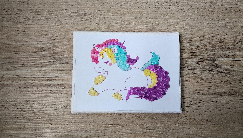 Unicorn diy button art kit button canvas craft kit art puzzle do unicorn diy button art kit button canvas craft kit art puzzle do it yourself colorful picture solutioingenieria Image collections