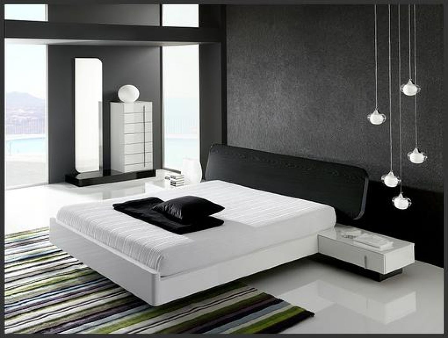 Interior minimalist black and white bedroom interior Modern minimalist master bedroom