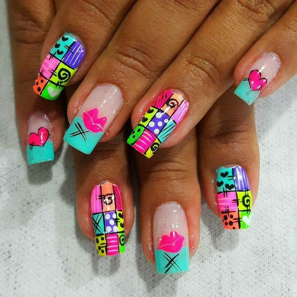 I Am So In Love With These Bright Fluorescent Acrylic Nails In A ...