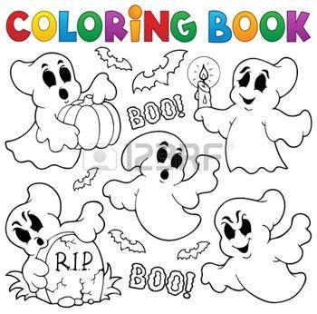 Fantome Dessin Coloriage Theme De Fantome De Livre En 2019