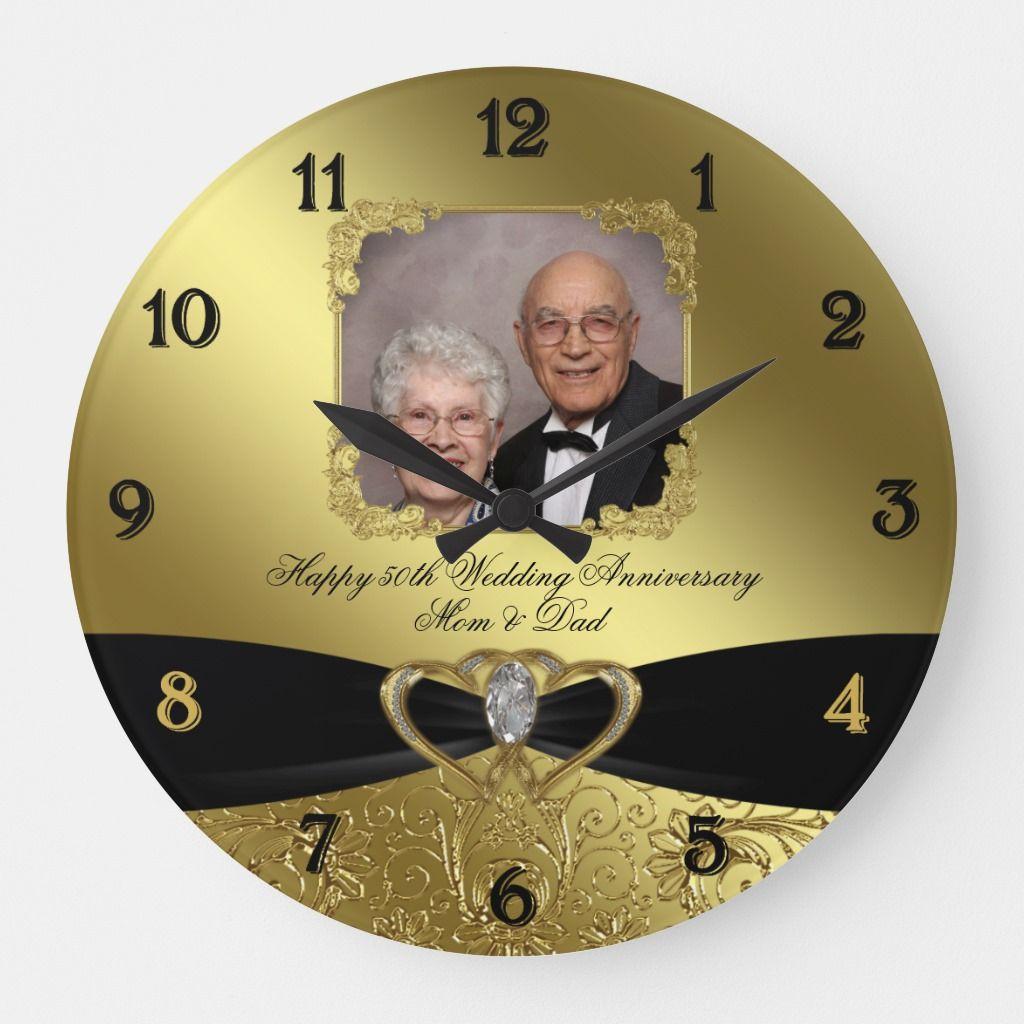 50th Wedding Anniversary Photo Wall Clock Zazzle Com In 2020 Wedding Anniversary Photos Anniversary Photos Photo Wall Clocks