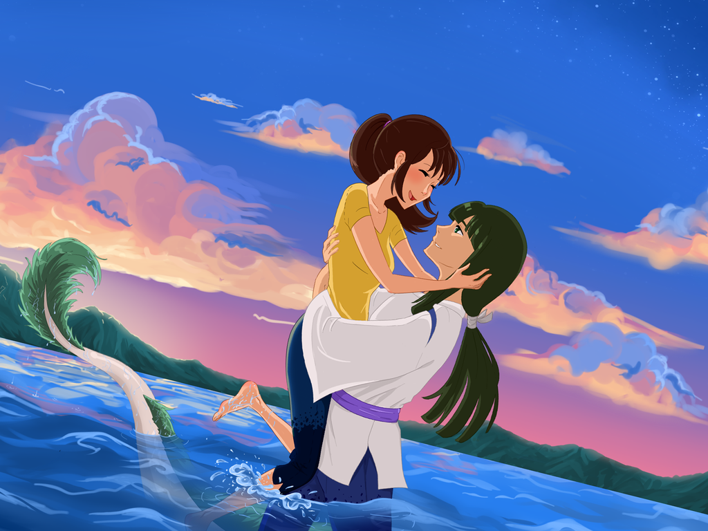Together Again Chihiro And Haku S Reunion At Last Studio Ghibli Fanart Studio Ghibli Art Ghibli Artwork
