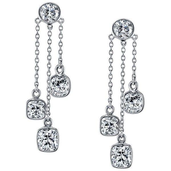 Women's Diamond Earrings by Harry Kotlar Dancing Kotlar Cushion... (€20.365) ❤ liked on Polyvore featuring jewelry, earrings, silver, earrings jewelry, cushion cut earrings, dangle earrings, chandelier jewelry and long diamond earrings