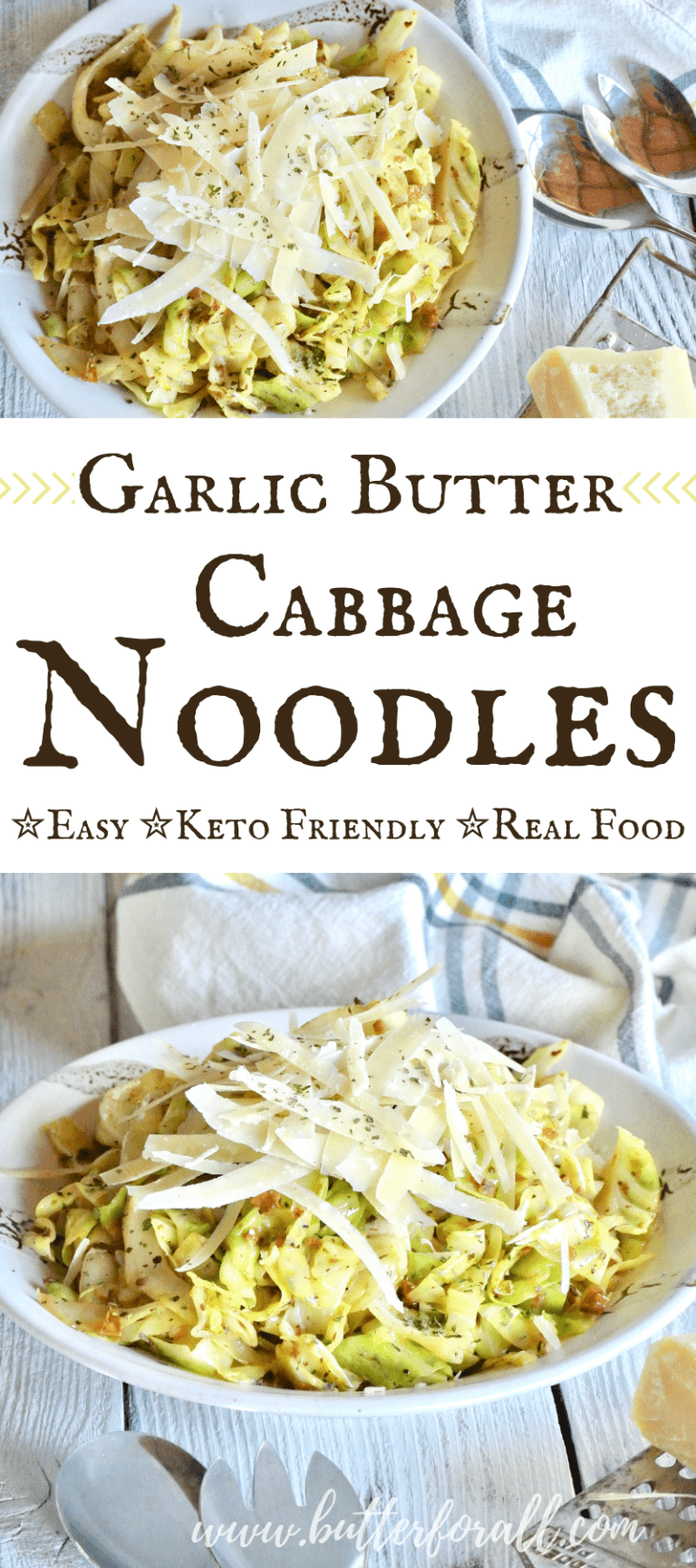 These keto friendly cabbage noodles are such an easy dish to prepare. They are fast and full of garlic, herb and butter flavor. You will love adding these noodles into your real food recipe rotation!