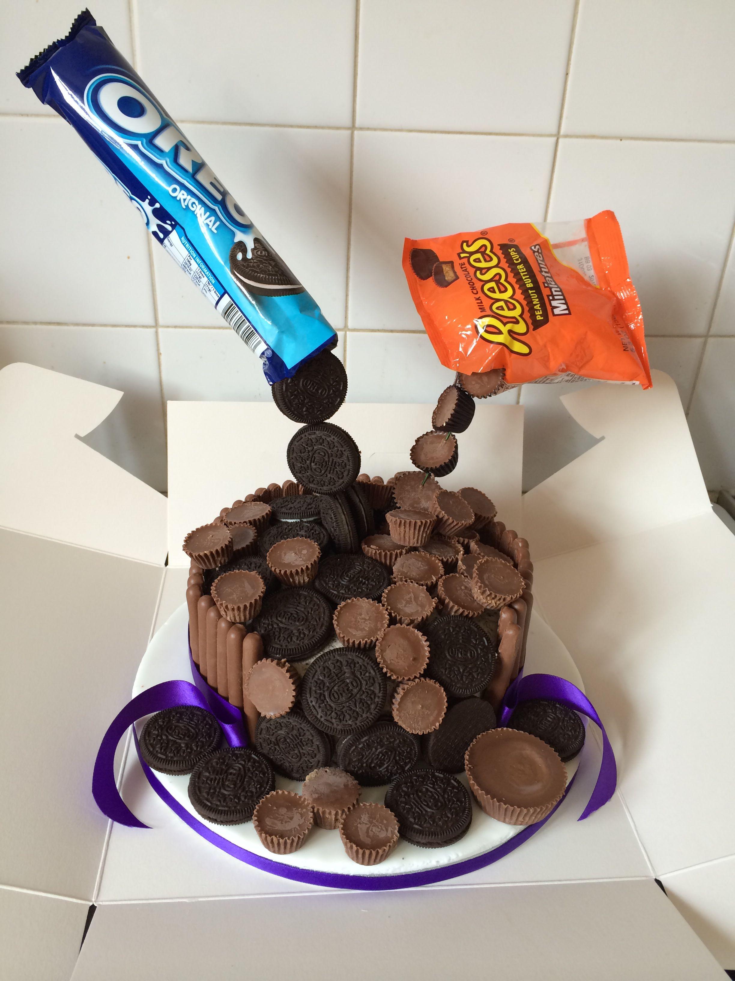 Oreo And Reeses Gravity Cake Mmmm Pinterest Cake Gravity