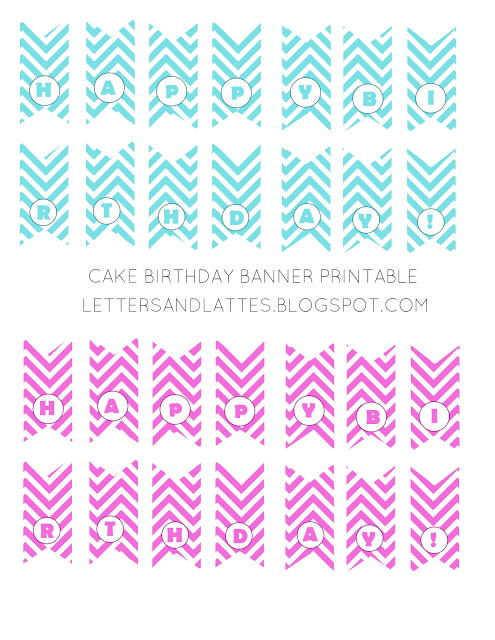 letters and lattes cake birthday banner free printable birthday
