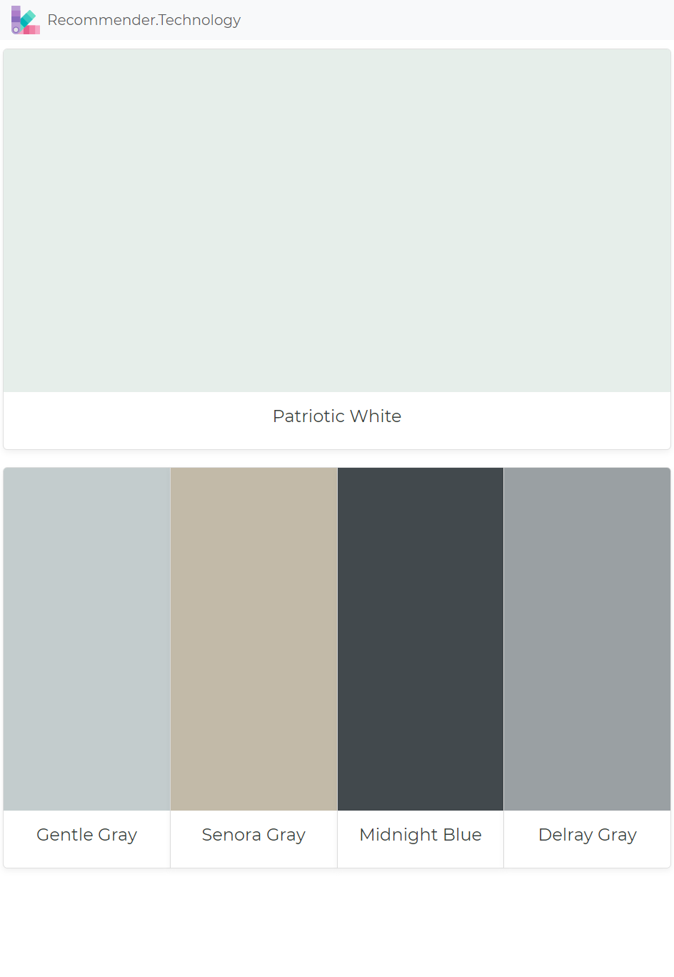 Patriotic White Gentle Gray Senora Gray Midnight Blue Delray Gray Paint Colors Benjamin Moore Perfect Paint Color Paint Color Palettes
