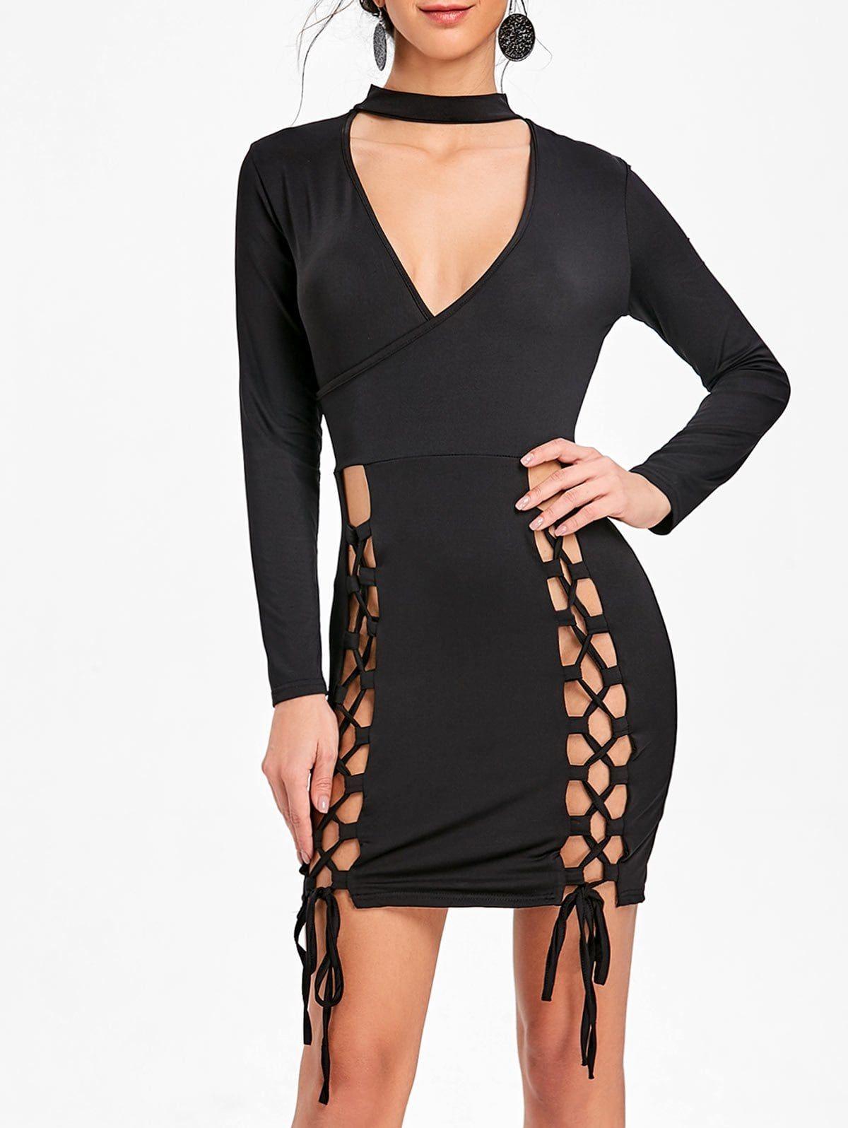Surplice Neck Lace Up Choker Dress | fasion, costumes