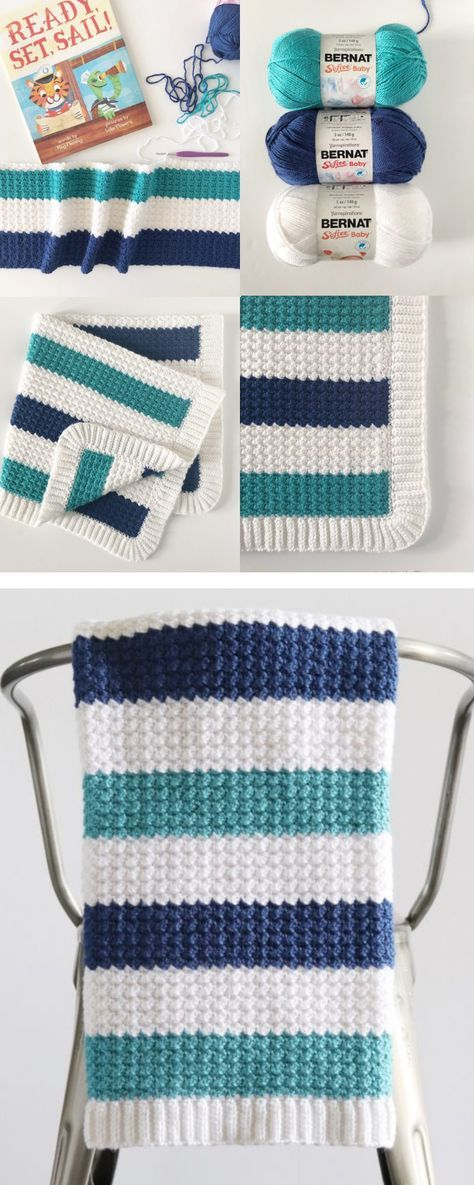 Free Pattern - Crochet Nautical Baby Blanket #babyblanket