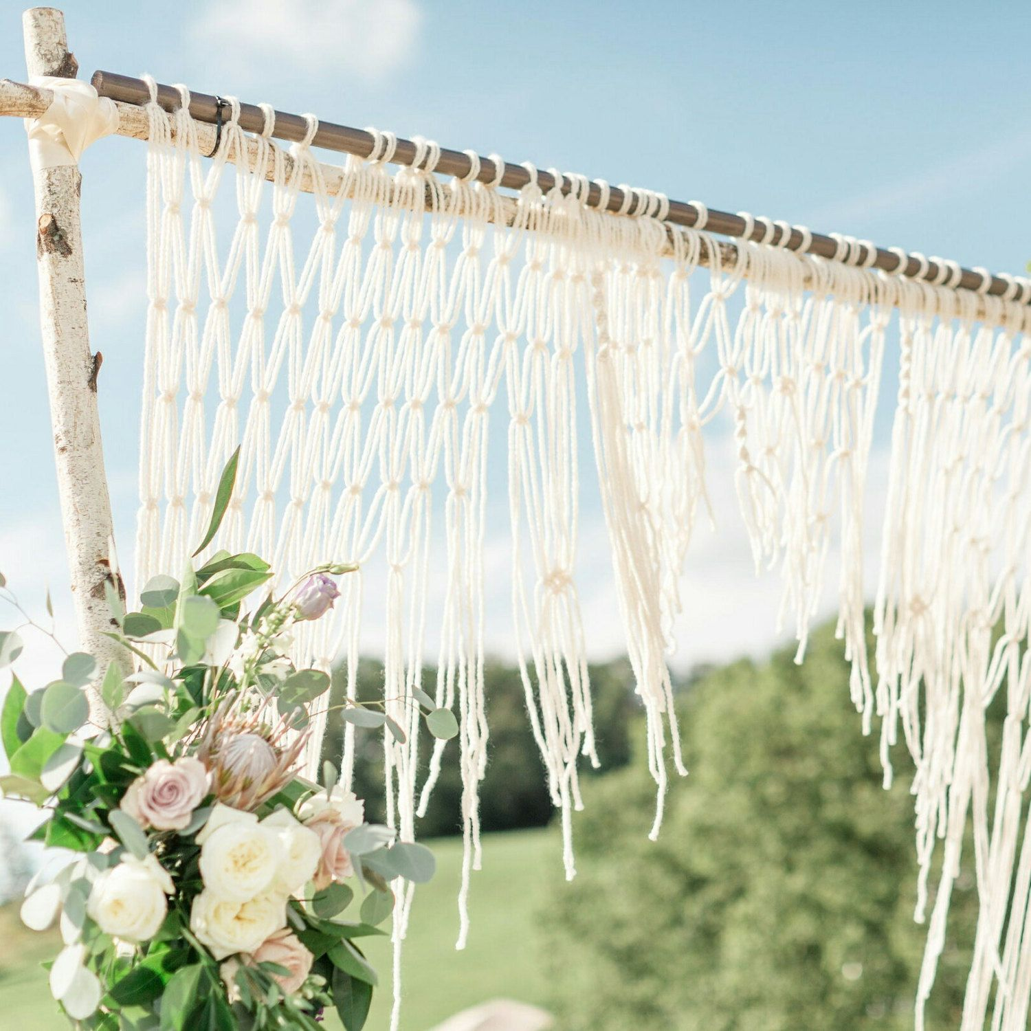 macrame wedding ceremony backdrop for an arch arbor altar or