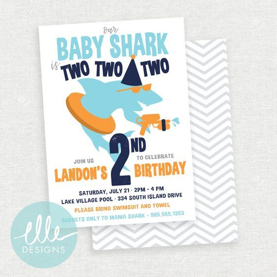 Baby Shark Invite Pool Party Modern Invitation Printed Cards Or Digital 2nd Birt