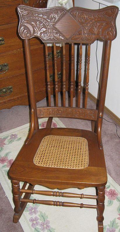 Antique Oak Ladies Sewing Rocker Old Rockers Antiques