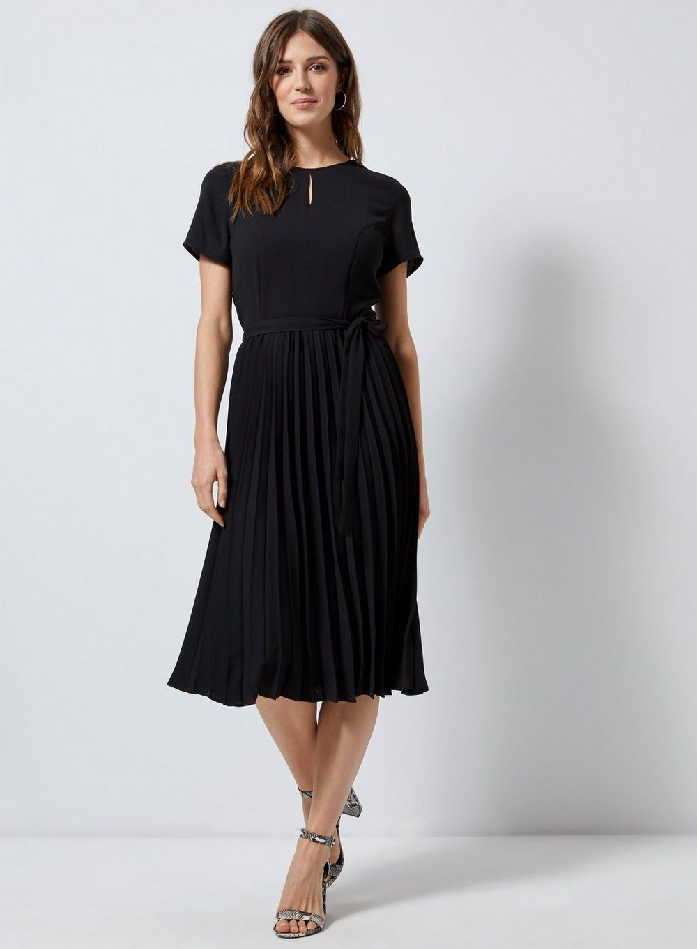 6163e69d5e1 Black Plain Pleat Fit and Flare Dress - View All New In - New In - Dorothy  Perkins United States