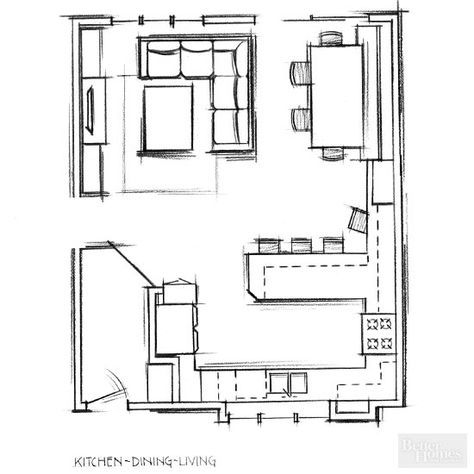 Remodel To Change Floor Plan Open Kitchen And Living Room Open Plan Kitchen Dining Small House Layout