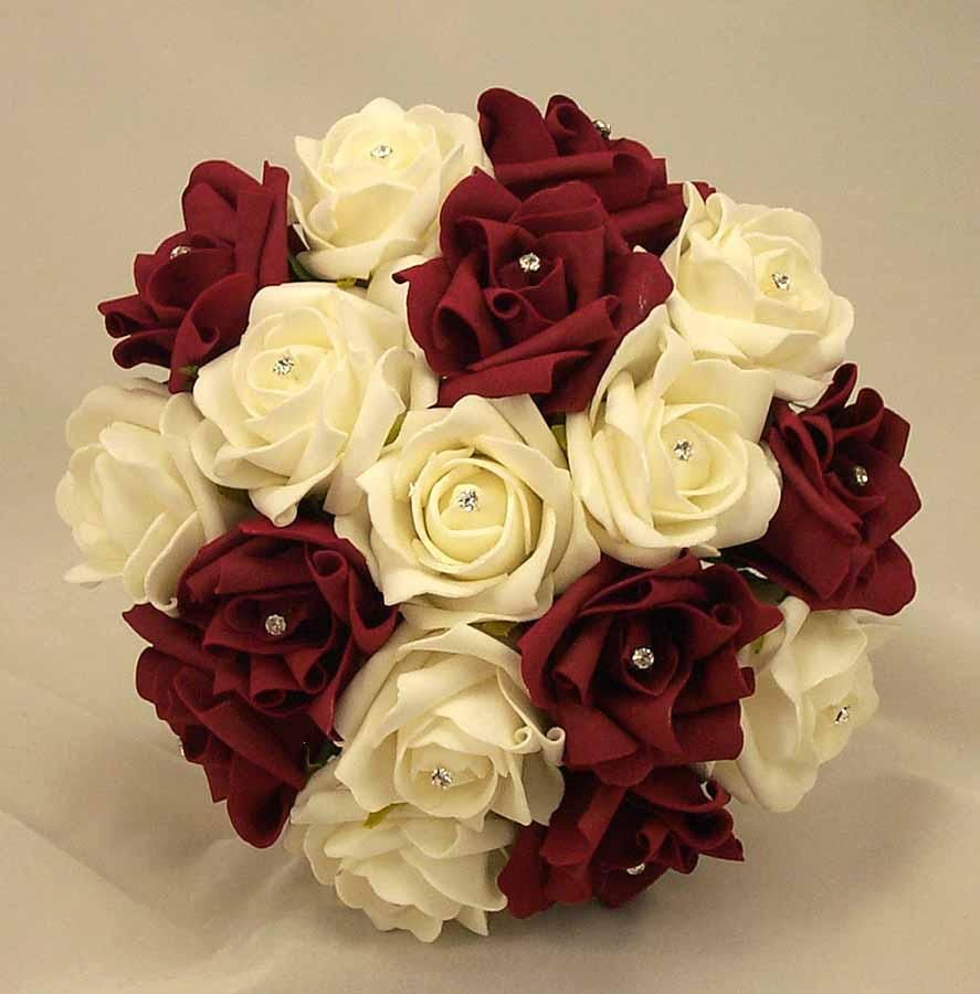 Burgundy wedding flowers viewing burgundy silk wedding flower burgundy silk wedding flower ideas burgundy ivory diamante bridesmaids bouquet powered by dt author box written by admin dhlflorist Choice Image
