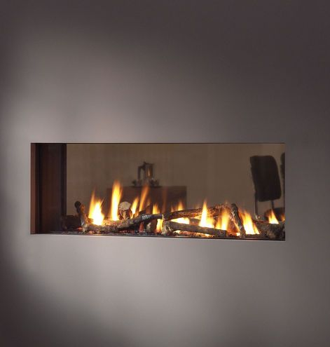Double sided gas fire for kitchen / living room partition.. double ...