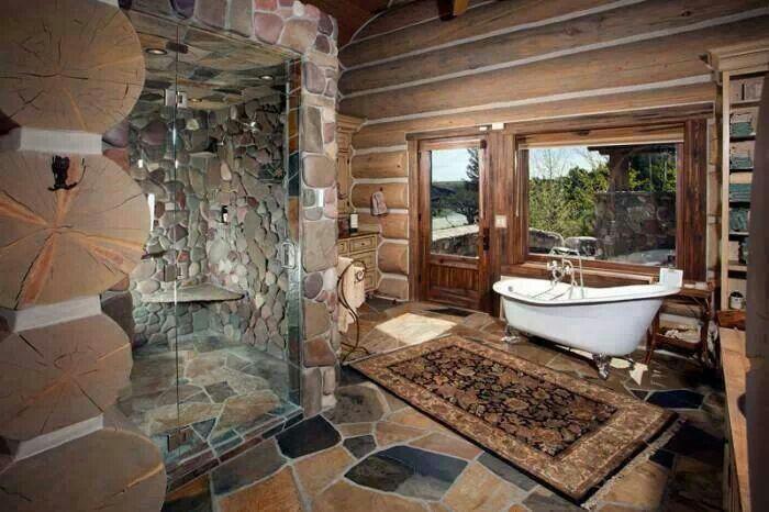 Amazing bathroom!!! Log cabin dreams Pinterest Amazing