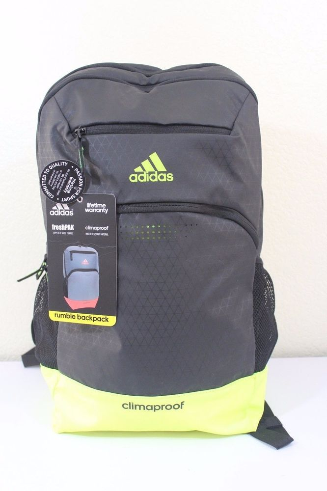 Adidas rumble backpack unisex black   yellow tech friendly climaproof   adidas  Backpack 299ddf4254