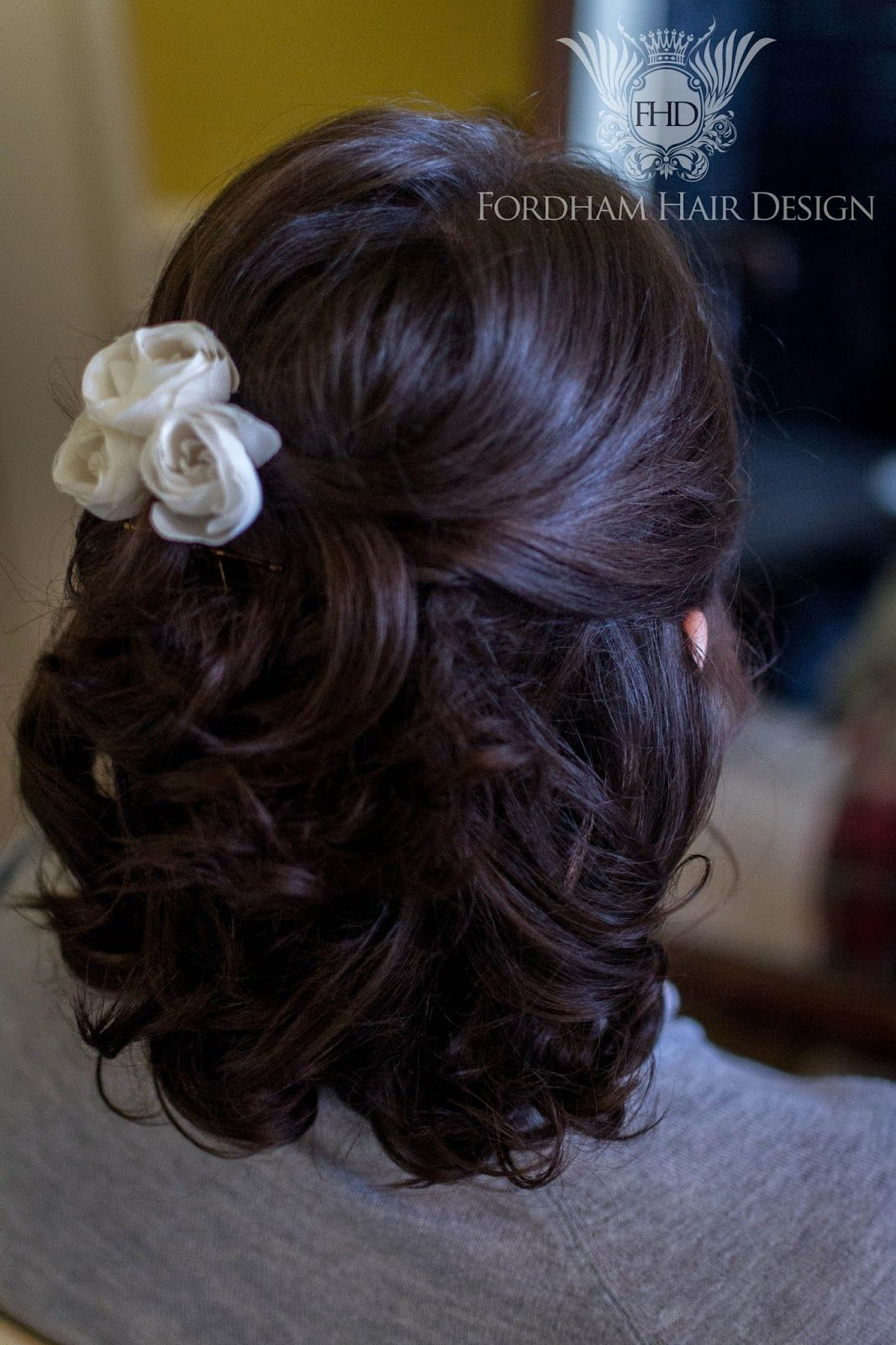 half up bridal hair style bridesmaid at elmore court