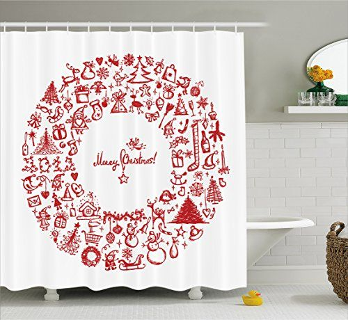 Christmas Shower Curtain By Ambesonne Vintage Merry Xmas Wreath