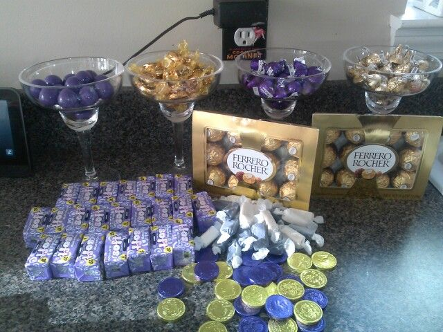 Purple and Gold baby shower buffet candy