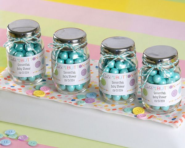 "Mason Jar Party Decorations Cute As A Button"" Personalized Mason Jar Set Of 12"