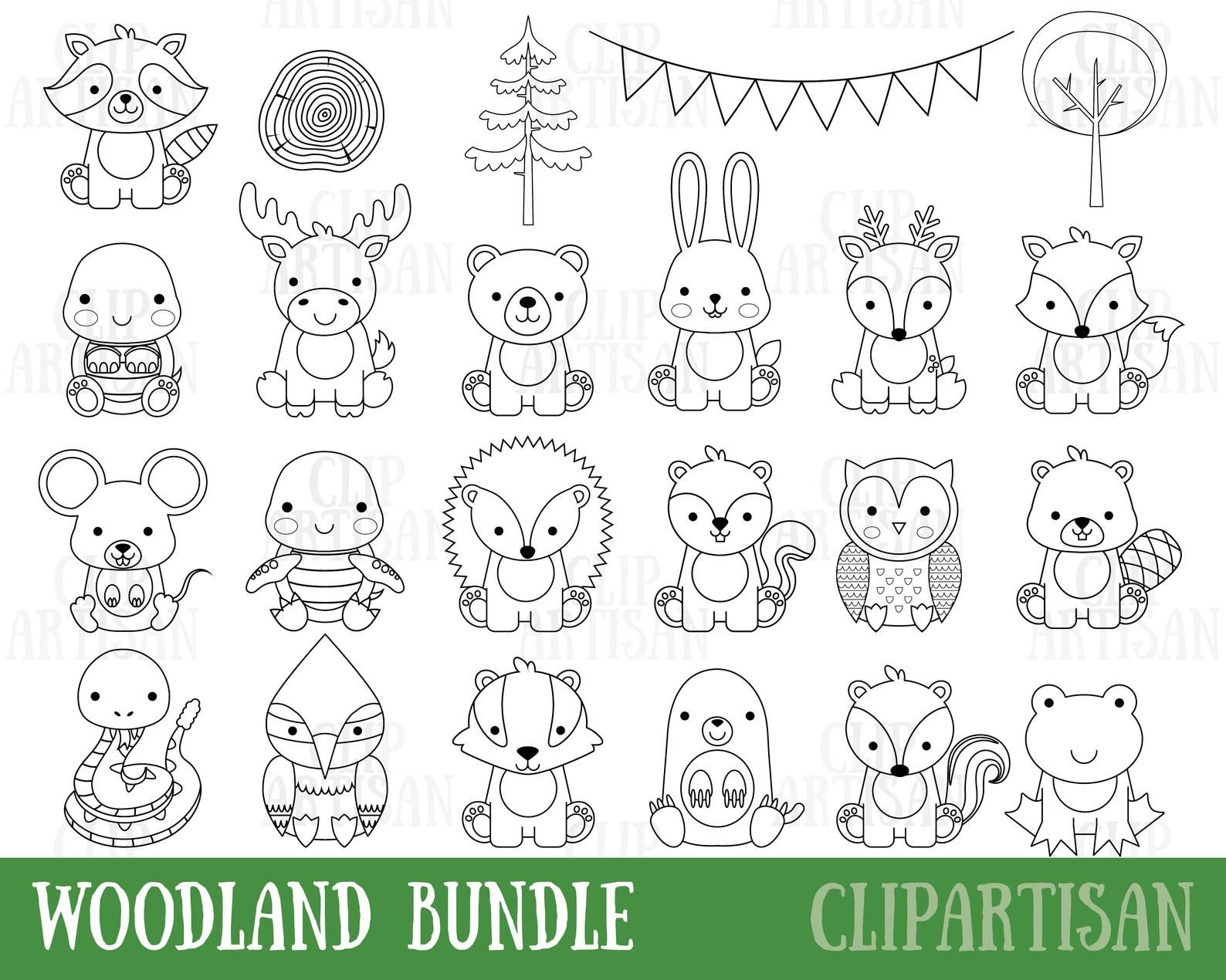 Woodland Baby Animals Clipart Digital Stamps Bundle Forest Animal Clipart Woodland Baby Shower Printable In 2021 Animal Clipart Digital Stamps Cute Animal Clipart