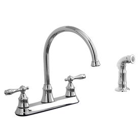 Aquasource Polished Chrome 2 Handle High Arc Kitchen Faucet With