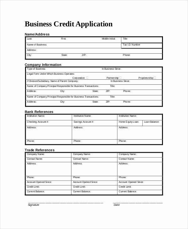 30 Credit Application form for Business in 2020 Credit